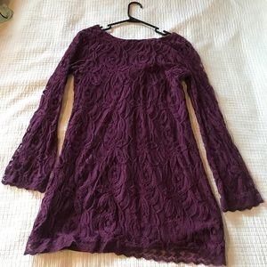 Plum, lace, bell-sleeve dress